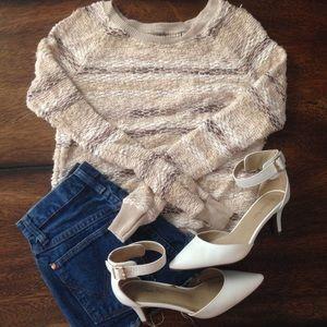 AE Gold Cream Striped Casual Fall Winter Sweater